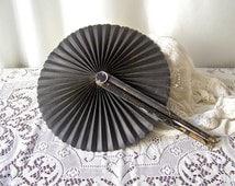 Antique Fan Victorian Mourning Fan Hand Held Fan Ladies Folding Fan Cockade Fan Pleated Fan Costume Design ca. 1909