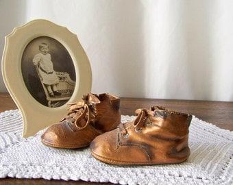 Vintage Bronze Leather Baby Shoes Baby Shower Decor Baby Keepsake Shabby Cottage Photo Prop 1940s