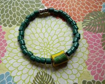 Green Bead Bracelet — Millefiori Bead Accent (Italy)