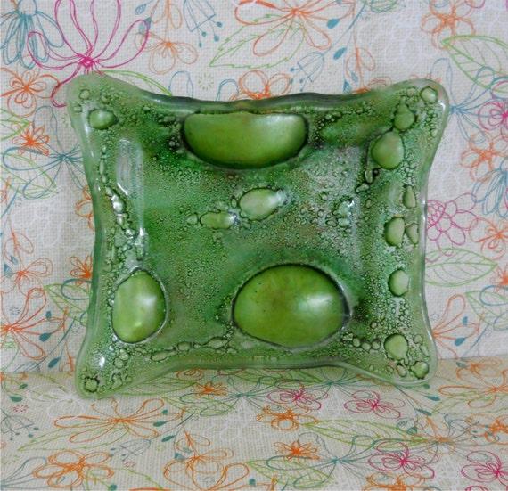 Green Bubble Glass Ashtray / Jewelry Tray