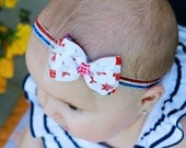 Firecracker Stash Bow Mini- 4th of July- Independence Day- Available as headband or 2 alligator clips