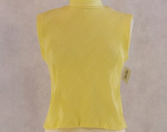 1960s Yellow Pleated Sleeveless Top