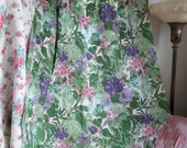 1+ Yards Vintage Chroma Color Fabric 1960's Purple Pink Green Spring Tropical Floral Retro V22