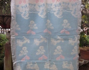 Vintage Blue & Pink Baby Blanket Crib Throw Satin Binding With Kittens and Mittens Cats