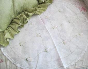 Delicate Feminine Sheer Hand Embroidered Pink Rose Doily Dresser Linen Handmade Needlelace Trim K53