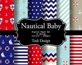 Nautical Baby  INSTANT DOWNLOAD Digital Paper Set