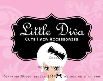 Character illustrated Premade Logo design- Little Diva