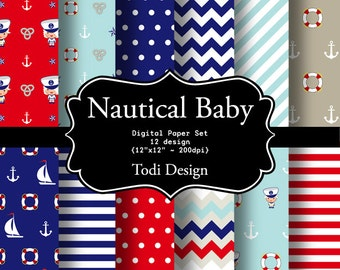 Nautical Baby  INSTANT DOWNLOAD Digital Paper Set