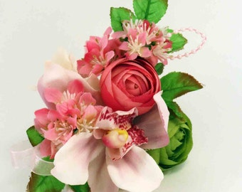 Pink Orchid  Corsage, Ranunculus Corsage, Mother's Day, Prom Flower