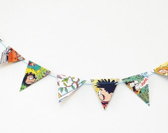 Mini Dennis the Menace Bunting, Small Garland, up-cycled comic book, mini banner