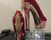 High Heel Platform Spiked Women Shoes Magenta/Pink size 9-9 1/2...A SpikesByG Design