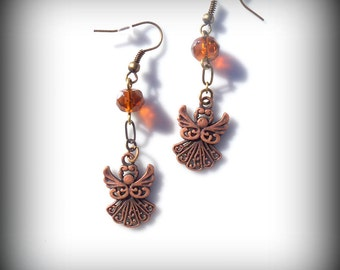 Antique Copper Angel Earrings