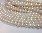 10 to 11 mm Large Hole Freshwater Pearl Round Beads - White - 2 mm hole - 15.5 inch (G1636W58) (BH)