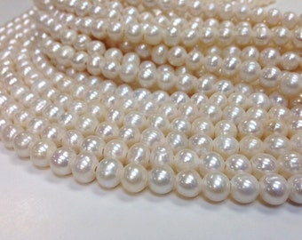 10 mm Large Hole Freshwater Pearl Potato Beads - White 2 mm hole - 15.5 inch (G1636W65-BHB)