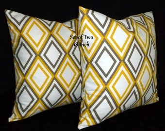 Decorative Pillows,Accent Pillows, Throw Pillows, Pillow Covers, Home Decor - Two 18inch Yellow, Taupe and White