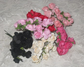 72 Paper Flowers Vintage Style Millinery Mulberry Paper Flowers Assortment ECS