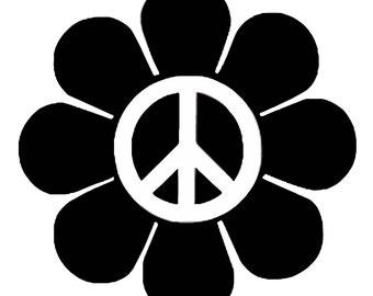 Hippy Peace Vinyl Decal F10