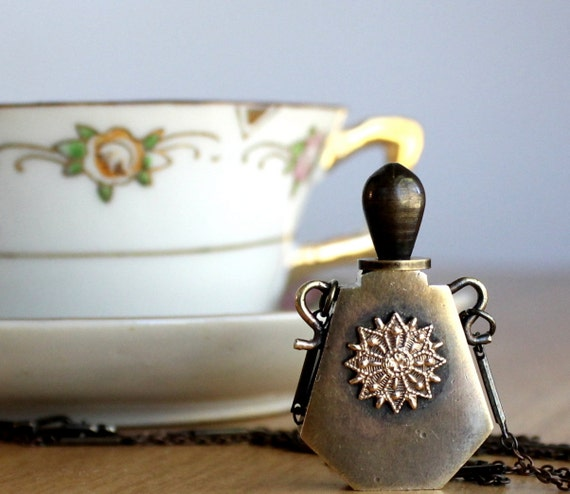 Brass Perfume Bottle Pendant Necklace A Little Luck and Happiness Statement Necklace