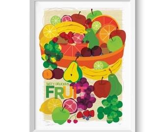 Fruit Bowl Print Food Illustration Wall Art
