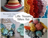 Crochet PDF Pattern Discount Pack - 4 PDF Patterns,crocheted tube necklaces,crocheted beads,crochet flower necklace, crochet royal headband