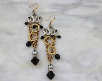 Black Gold Chandelier Drop Duster Earrings Vintage Jewelry