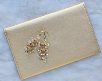 60s Crystal Irredescent Chandelier Drop Tiered Earrings Bead