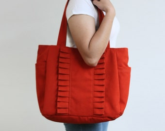 SALE - Ruffle Tote Bag in Burnt Orange / Shoulder Bag / Cotton Canvas Bag / Cute Handbag / Zipper & Side Pockets - Zoey