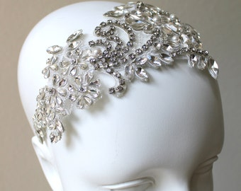 Bridal Crystal Lace Headpiece.  Stunning Swarovski Pearl Rhinestone Luxury Wedding Tiara/Crown.  ESMERALDA