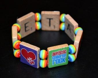 Reversible adult size Autism Scrabble Tile Bracelet