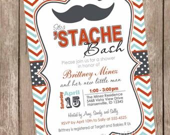 Chevron Stache Bash Baby Shower Invitation, mustache invitation, little man invitation, mustache, red, grey, aqua, printable invitation
