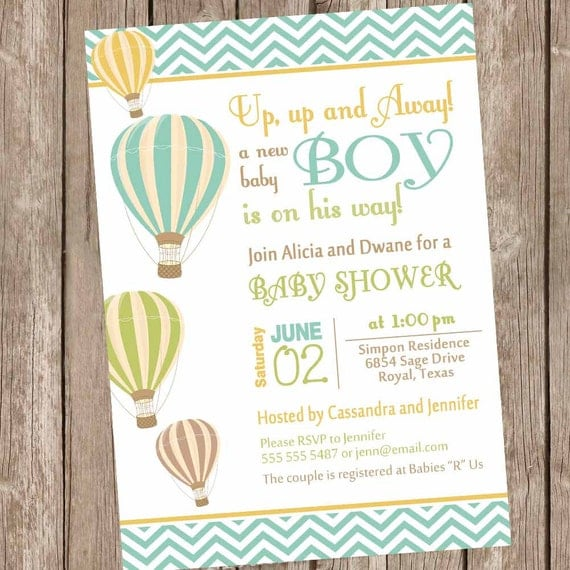 Items Similar To Chevron Hot Air Balloon Baby Shower Invitation, Up Up And  Away, Chevron Baby Shower Invitation, Brown, Green, Orange, Printable, On  Etsy