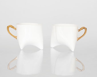 Coffee cups set - unique coffee mug or tea cup white with gold, contemporary ceramic cup handmade by Endesign