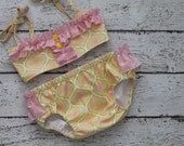 swim suit for girls, girl modern print swimwear , girl fun swimming , toddler yellow pink bikini, vintage fabric swimmer