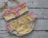 swim suit for girls, girl modern print swimwear , girl fun swimming , toddler yellow pink bikini, vintage fabric swimmer