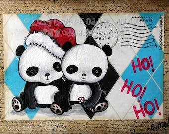 Mixed Media Whimsical Big Eyed Art Giclee Print Christmas Pandas Go Ho Ho Ho by Lizzy Love
