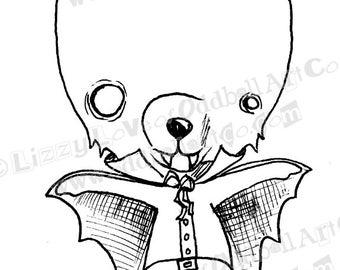 INSTANT DOWNLOAD Digi Stamp Digital Image Creepy Cute Vampire Bear ~ Vinny the Vamp Image No. 118 by Lizzy Love