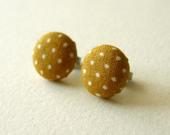 Mustard Polka Dots Cotton Earrings 12mm Surgical Steel
