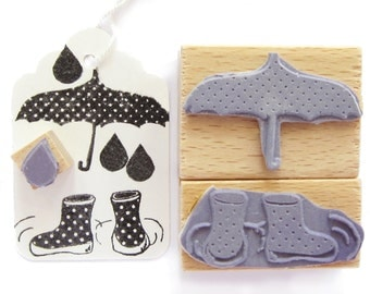 3 rubber stamps - RAINY DAY
