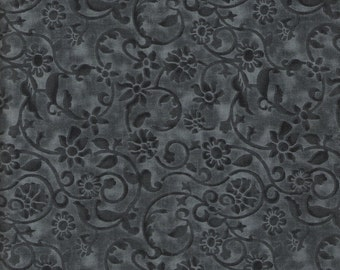 Floral Fabric Swirl Fabric  Gray Fabric Floral Black Fabric 1 3/4 Yards Blender Fabric Cotton Quilting Fabric Sewing Supplies YacketUSA