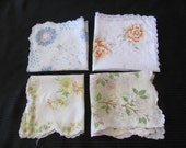 Lot of 4 Assorted White Vintage Cotton Hankies