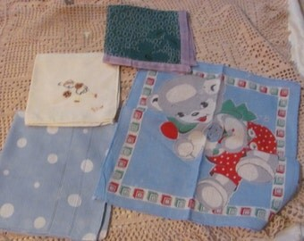 Hankies - Lot of 4 Childrens Small Vintage Antique Handkerchief