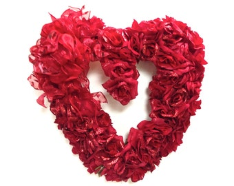 """Valentines Day Mothers Day Silk Heart Shaped Wreath Silk Rose Wreath (16"""")"""