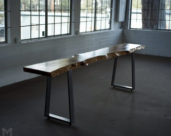 Live Edge Redwood Console Table, Steel Trapezoid Legs, *Sold Out Indefinitely*