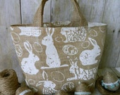 easter baskets Pretty Children's  Burlap Easter Basket, Easter Bag, Easter Bunny Design Spring Celebrations
