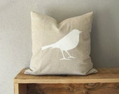 16x16 inches decorative throw pillow case with bird print in natural beige and white -  Shabby chic home decor - Neutral cushion cover
