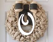 Front Door Wreaths, Monogram Wreath, Front Door Sign, Monogram Door Hanger, Spring Burlap Wreath, Interchangeable Bow