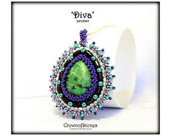 """Bead Pattern PDF Bead Embroidery Pendant """"Diva"""" with Rulla beads SPECIAL PRICE"""