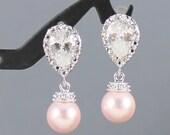 Pink Pearl Earrings, Wedding Earrings Pearl Jewelry, Cubic Zirconia Posts, Bridal Earrings Rose Pink Wedding Bridesmaid Gift Dangle Earrings