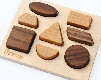 Wood Puzzle Personalized Natural Wood Baby Shapes Toy Puzzle // Personalized Modern Puzzle for Babies and Toddlers // Handmade in the USA