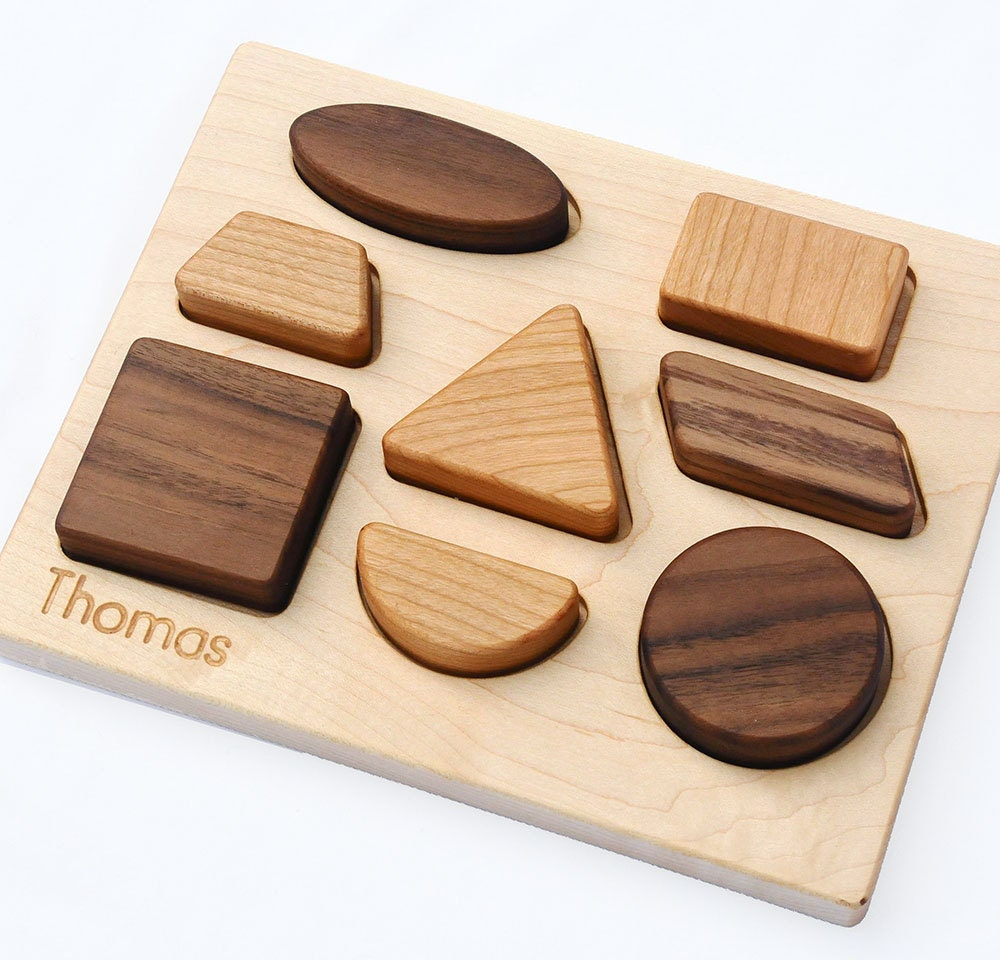 Wood Puzzle Personalized Natural Wood Baby Shapes Toy Puzzle